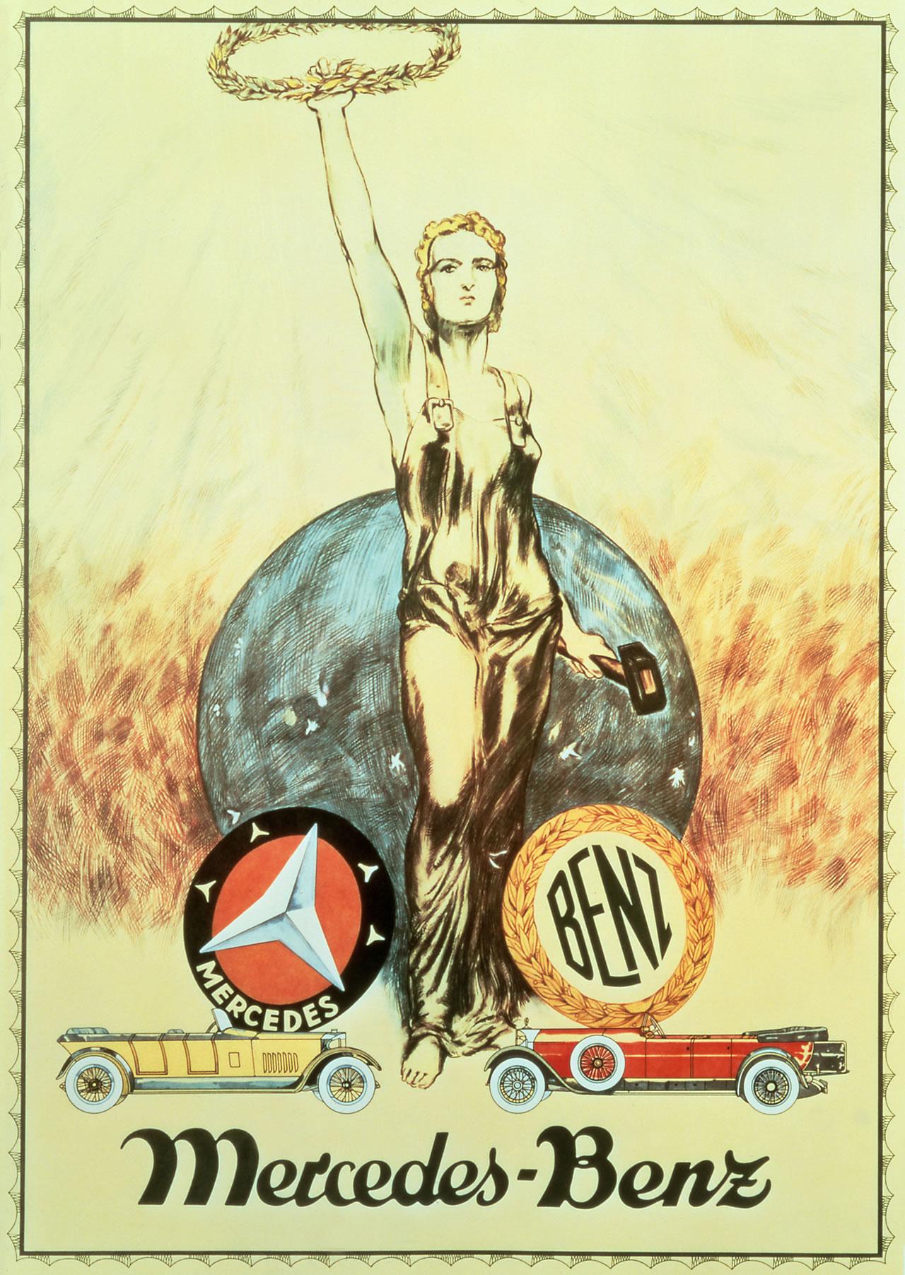 Cartel mostrando la unión entre DMG y Benz